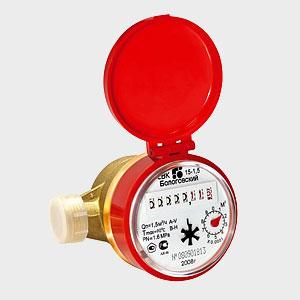 счетчик расхода воды СВК-15-1.5, 5-90'C, 1.5м3/час, с обратным клапаном